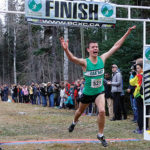 Oak Bay Tyler Dozzi is first across the finsh line to claim the senior boys' title at the B.C. high school cross country championships Saturday in West Kelowna. Douglas Farrow/Black Press